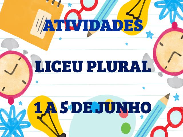ATIVIDADES – LICEU PLURAL | 1 A 5 DE JUNHO